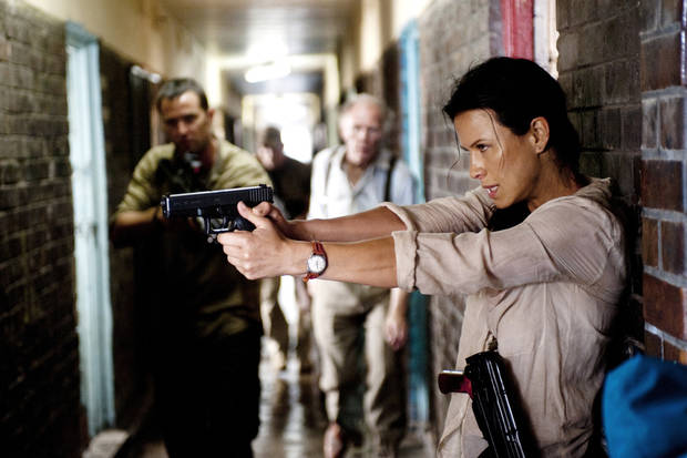 "From left, Sullivan Stapleton, Tim Pigott-Smith and Rhona Mitra in ""Strike Back"" - Cinemax Photo"
