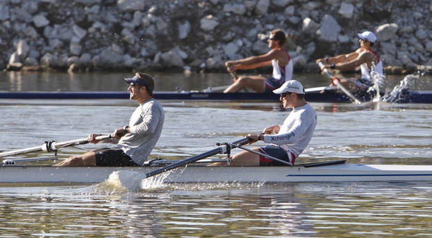 United States 2 team of Andrew Melander and Ryan Monaghan compete in the men's World Challenge 2000m race during the Oklahoma Regatta Festival at the Oklahoma River on Saturday, Oct. 1, 2011, in Oklahoma City, Okla. Photo by Chris Landsberger, The Oklahoman