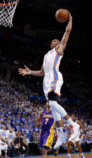 Oklahoma City's Russell Westbrook (0) goes up for a dunk during Game 2 in the second round of the NBA playoffs between the Oklahoma City Thunder and L.A. Lakers at Chesapeake Energy Arena in Oklahoma City, Wednesday, May 16, 2012. Photo by Bryan Terry, The Oklahoman