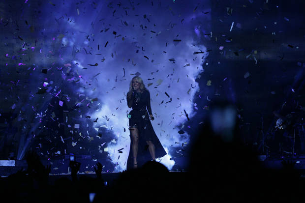 "Carrie Underwood sings during the opening weekend of her ""Blown Away Tour."" Photo by Todd Cassetty. <strong>unknown</strong>"