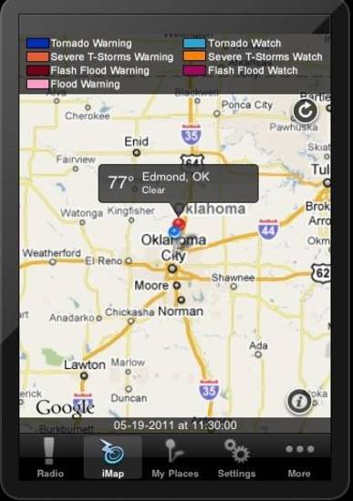 Screen shot from iMap Weather Radio by Weather Decision Technologies, Inc.