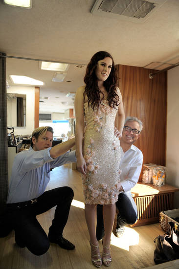 Mark Badgley and James Mischka of Badgley Mischka style Rumer Willis on the set of their Spring 2011 multi-media marketing campaign.