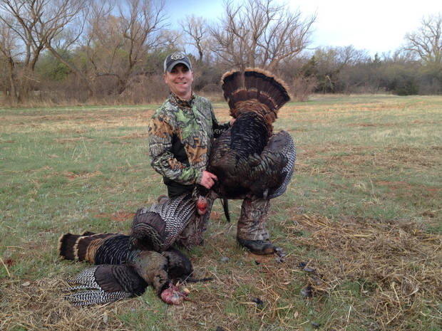 Anthony Pate of Durant claimed these huge gobblers in Kingfisher County on the opening morning of turkey season.