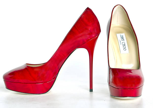 Bright shoes add a pop of color to your holiday wardrobe. These platform pumps sold at Balliets. Photo by Chris Landsberger, The Oklahoman. <strong>CHRIS LANDSBERGER</strong>