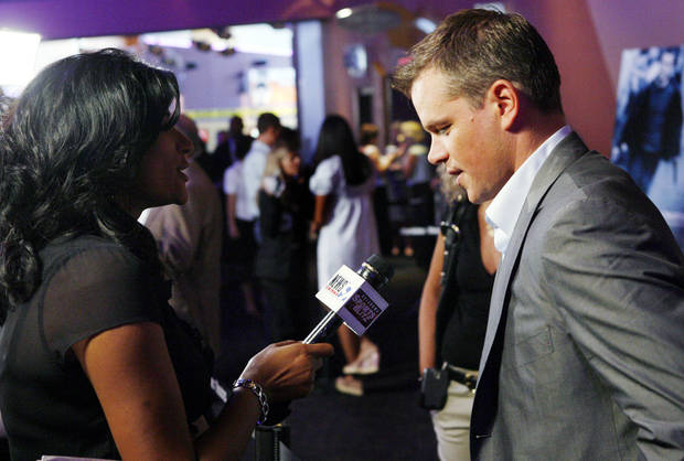 "KWTV's Mary Joseph interviews actor Matt Damon before the Oklahoma City premiere of ""The Bourne Ultimatum""  at the Harkins Bricktown Theaters in Oklahoma City, Tuesday, July 31, 2007. Damon and producer Frank Marshall brought the film to benefit The Children's Center. By Nate Billings, The Oklahoman"