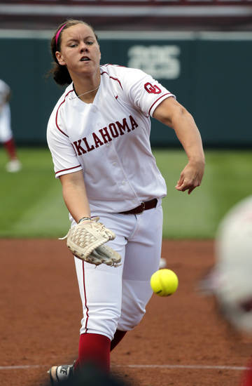 Sooner pitcher Keilani Ricketts throws during the Norman Regional of the 2013 NCAA Division I Softball Women's College World Series as the University of Oklahoma (OU) Sooners play the Arkansas Razorbacks at Marita Hines Field on Saturday, May 18, 2013  in Norman, Okla. Photo by Steve Sisney, The Oklahoman