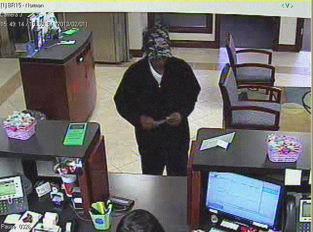 The FBI is searching for this man in Friday�s robbery of Communication Federal Credit Union in Norman. Photo provided