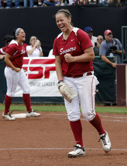 Pitcher Keilani Ricketts celebrates after the final pitch at the NCAA Super Regional softball game as the University of Oklahoma (OU) Sooners defeat Texas A&M 8-0 at Marita Hines Field on Saturday, May 25, 2013 in Norman, Okla. to advance to the College World Series.  Photo by Steve Sisney, The Oklahoman