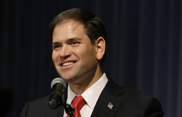 U.S. Sen. Marco Rubio, R-Fla., speaks during Iowa Gov. Terry Branstad's annual birthday fundraiser, Saturday, Nov. 17, 2012, in Altoona, Iowa. (AP Photo/Charlie Neibergall)