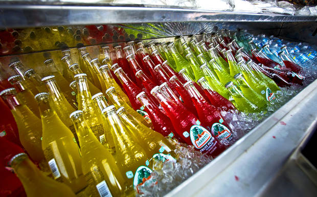 FOOD VENDORS: The colorful arrangement of sodas in the mobile Big Truck Tacos truck on Friday, July 16, 2010, in Oklahoma City, Okla.    Photo by Chris Landsberger, The Oklahoman ORG XMIT: KOD
