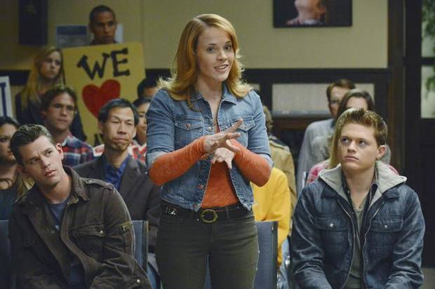 "SWITCHED AT BIRTH - ""Tight Rope Walker"" - Daphne feels torn when the deaf students at Carlton rally the school board to prevent even more hearing kids from attending through the pilot program. Meanwhile, Bay questions Regina's behavior, Daphne gets the lead in the play and Toby grows closer to Elisa (guest star Zoey Deutch), on an all new episode of ""Switched at Birth"" airing Monday, February 25 at 8:00PM ET/PT on ABC Family. (ABC FAMILY/ERIC MCCANDLESS) RYAN LANE, KATIE LECLERC, SEAN BERDY"