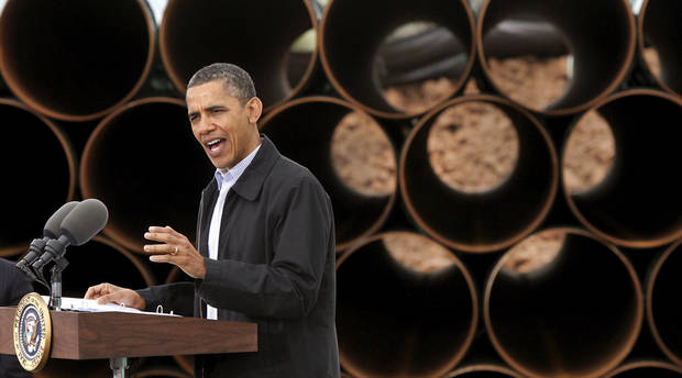 With  large oil pipe stacked 20 feet high as a backdrop, President Barack Obama delivered a speech promoting his administration's energy policies  to a group of about 200 invited guests at a pipe storage  yard just north of Ripley Thursday morning,  March 22, 2012.   Photo by Jim Beckel, The Oklahoman