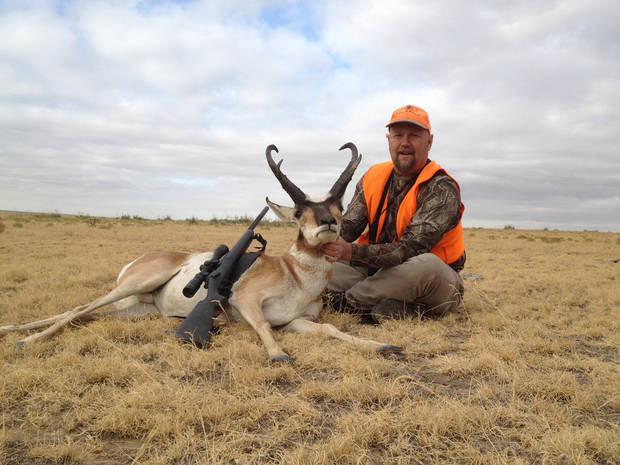 Jeff Puckett of Norman poses with the antelope he killed earlier this month in the Oklahoma Panhandle. Last year, the Oklahoma Department of Wildlife Conservation received 8,556 applications for the 315 antelope gun hunt permits that were available. Oklahoma allows restricted hunting of antelope with guns in Texas and Cimarron counties. Photo Provided