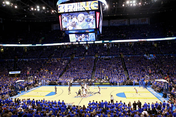 Thunder fans watch The Oklahoma City Thunder tip off against the Memphis Grizzlies game 7 of the NBA basketball Western Conference semifinals begins at the OKC Arena in Oklahoma City, Sunday, May 15, 2011. Photo by John Clanton, The Oklahoman