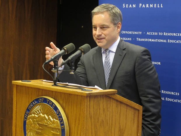 Alaska Gov. Sean Parnell answers a reporter's question during his first news conference of the new legislative session on Thursday, Jan. 17, 2013, in Juneau, Alaska. Topics covered during the news conference included oil taxes, a gas pipeline project, education and state spending. (AP Photo/Becky Bohrer)