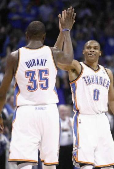 Oklahoma City's Kevin Durant (35) and Russell Westbrook (0)