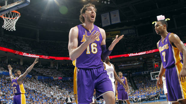 Los Angeles' Pau Gasol reacts after being called for a foul during Game 2 in the second round of the NBA playoffs between the Oklahoma City Thunder and the L.A. Lakers at Chesapeake Energy Arena on Wednesday,  May 16, 2012, in Oklahoma City, Oklahoma. Photo by Chris Landsberger, The Oklahoman