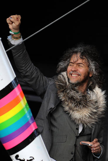 The lead singer and guitarist of American band The Flaming Lips, Wayne Michael Coyne, reacts  backstage June 8 during the performance of American rock band Yo La Tengo, not seen, during the Optimus Primavera Sound music festival in Porto, Portugal. AP Photo <strong>Paulo Duarte</strong>