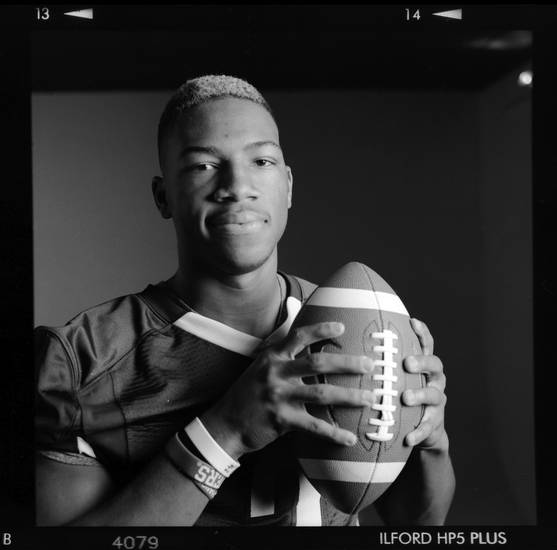 All-State high school football player Jordan Smallwood of Jenks poses for a photo in Oklahoma City, Monday, Dec. 17, 2012. Photo by Nate Billings, The Oklahoman