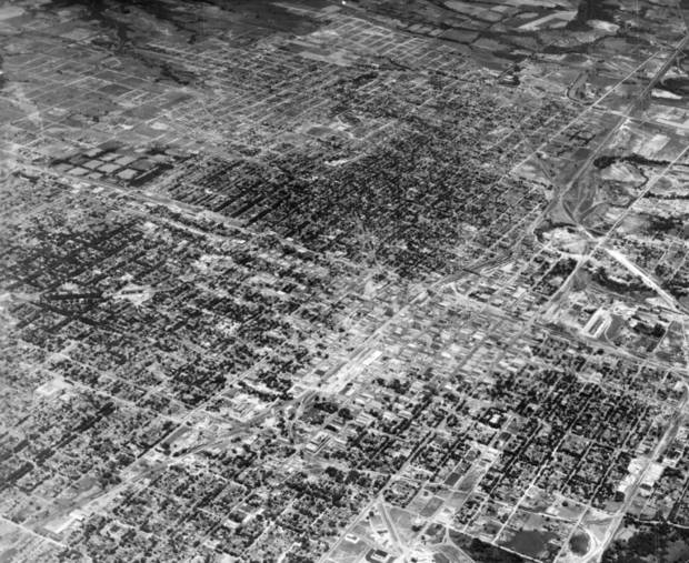 OKLAHOMA CITY / SKYLINE / OKLAHOMA / AERIAL VIEWS / AERIAL PHOTOGRAPHY / AIR VIEWS:  This is a photograph of Oklahoma City, taken June 20, from 18000 feet in the air.  Photo undated and published 06/22/1930 in The Daily Oklahoman.