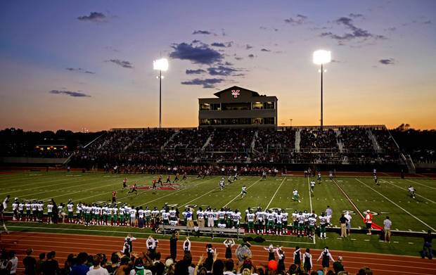 Edmond Santa Fe plays Yukon during a high school football game at the new stadium in Yukon, Friday, Sept. 9, 2011. Photo by Bryan Terry, The Oklahoman
