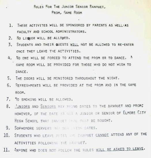 "ELMORE CITY / ""FOOTLOOSE"": Rules and regulations students were asked to follow at the 1980 prom. Photo provided  ORG XMIT: KOD"