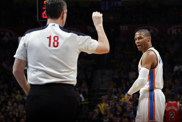Oklahoma City's Russell Westbrook (0) argues a call during the NBA game between the Oklahoma City Thunder and the Chicago Bulls at Chesapeake Energy Arena in Oklahoma City, Sunday, Feb. 24, 2013. Photo by Sarah Phipps, The Oklahoman