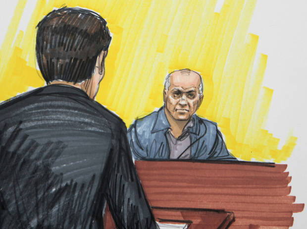FILE - In this May 23, 2011 file courtroom sketch, David Coleman Headley is shown in federal court in Chicago. Headley, who was convicted of charges related to a central role he played in the 2008 terrorist attacks in Mumbai, India, is scheduled to be sentenced Thursday, Jan. 24, 2013, in Chicago. (AP Photo/Tom Gianni, File)