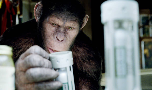 "MOVIE: In this image released by Twentieth Century Fox, Caesar the chimp, a CG animal portrayed by Andy Serkis is shown in a scene from ""Rise of the Planet of the Apes ."" (AP Photo/Twentieth Century Fox) ORG XMIT: NYET894"