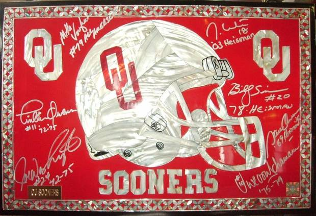 ONE OF THE AUTOGRAPHED OU PIECES IN OUR POSSESSION NOW<br/><b>Community Photo By:</b> GARY COOK<br/><b>Submitted By:</b> gary, SHAWNEE