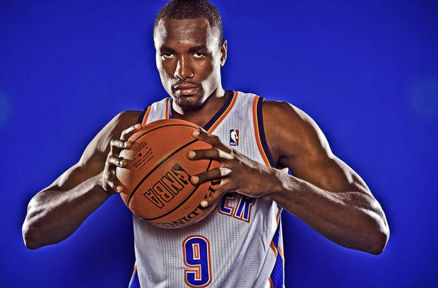 OKLAHOMA CITY THUNDER NBA BASKETBALL TEAM: Serge Ibaka during Thunder Media Day photos on Monday, Oct. 1, 2012, in Oklahoma City, Oklahoma.  Photo by Chris Landsberger, The Oklahoman