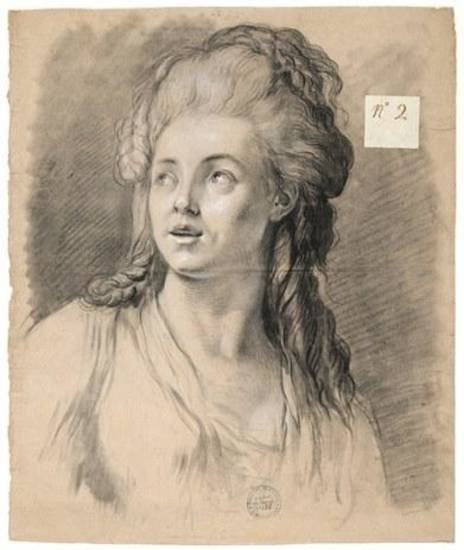 "Alexandre Moitte's ""Attention,"" a 1769 black-and-white chalk work on beige paper, is featured in the traveling exhibition ""Gods and Heroes: Masterpieces From the Ecole des Beaux-Arts, Paris."" Image provided by the American Federation of Arts"