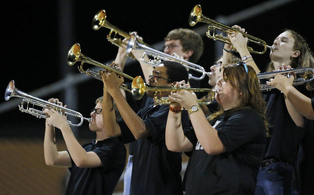 Members of the Norman North band play during a high school football game between Edmond North and Norman North in Norman, Okla., Thursday, Oct. 11, 2012. Photo by Nate Billings, The Oklahoman