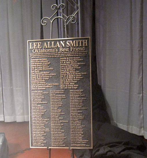 LEE ALLAN SMITH DAY....A plaque listing the donors for the Lee Allan  Smith statues. (Photo by Helen Ford Wallace).