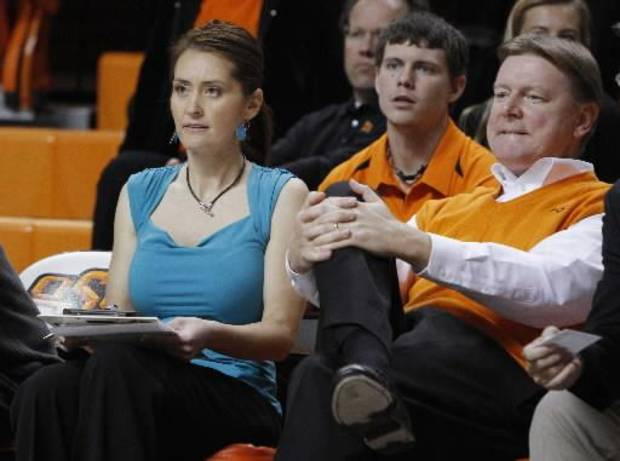 OSU women&#039;s basketball coach Kurt Budke and his assistant coach Miranda Serna during an exhibition women&#039;s NCAA college basketball game between the Oklahoma State University Cowboys and the Fort Hays State Tigers at Gallagher-Iba Arena in Stillwater, Okla., Wednesday, Nov. 9, 2011. Photo by Bryan Terry
