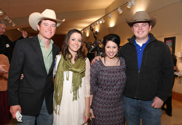 Tyler Crow (artist, Apache,OK), Katie Campbell, Shaelynn Rios, Tanner Crow. Photo by David Faytinger for the Oklahoman