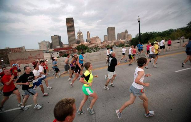 Runners make their way up the Walnut Street bridge during the Oklahoma City Memorial Marathon, Sunday, April 26, 2009, in Oklahoma City.  Photo by Sarah Phipps, The Oklahoman