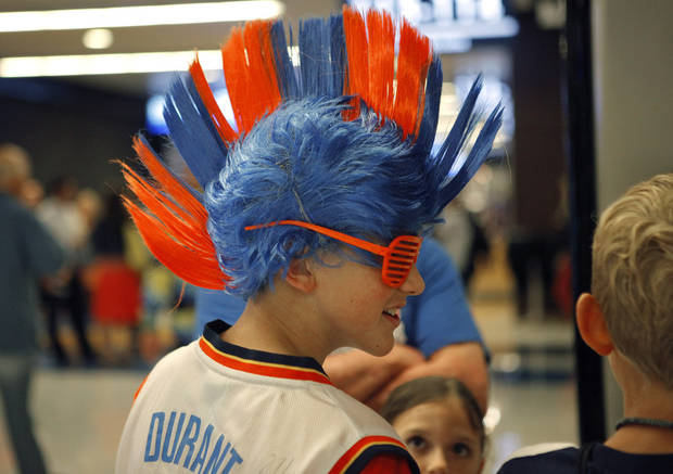 Jackson Johnson, 13, of Oklahoma City waits for the start of Game 6 of the Western Conference Finals between the Oklahoma City Thunder and the San Antonio Spurs in the NBA playoffs at the Chesapeake Energy Arena in Oklahoma City, Wednesday, June 6, 2012. Photo by Bryan Terry, The Oklahoman