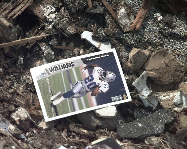 MAY 3, 1999 TORNADO: Football card in the rubble of Monday night's tornado damage in Moore. (Items left in aftermath)