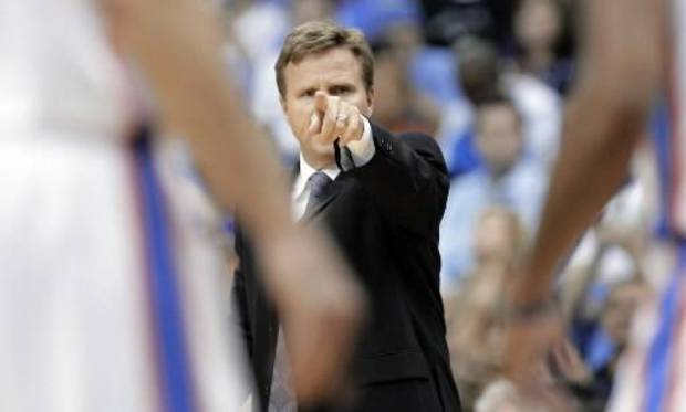 Thunder head coach Scott Brooks points out instruction to his players in the second half of their exhibition game against the Suns at the BOK Center in Tulsa, OK, Oct; 19, 2012. MICHAEL WYKE/Tulsa World