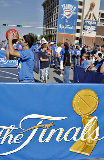 Basketball fans fill up Thunder Alley before the start of Game 1 of the NBA Finals between the Oklahoma City Thunder and the Miami Heat at Chesapeake Energy Arena in Oklahoma City, Tuesday, June 12, 2012. Photo by Chris Landsberger, The Oklahoman