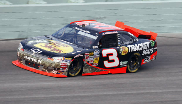 Driver Austin Dillon (3) leads during the NASCAR Nationwide Series auto race at Homestead-Miami Speedway Saturday, Nov. 17, 2012 in Homestead, Fla. (AP Photo/Alan Diaz)