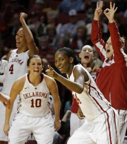 Oklahoma's Sharane Campbell, left, and Morgan Hook celebrate during the Sooners' win over TCU on Wednesday. PHOTO BY BRYAN TERRY, THE OKLAHOMAN