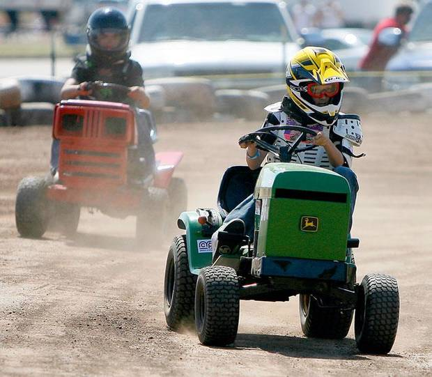 Kyle Ramos races during the El Reno Grascar Association lawn mower race in El Reno, Saturday, June 6, 2009. Photo by Bryan Terry, The Oklahoman