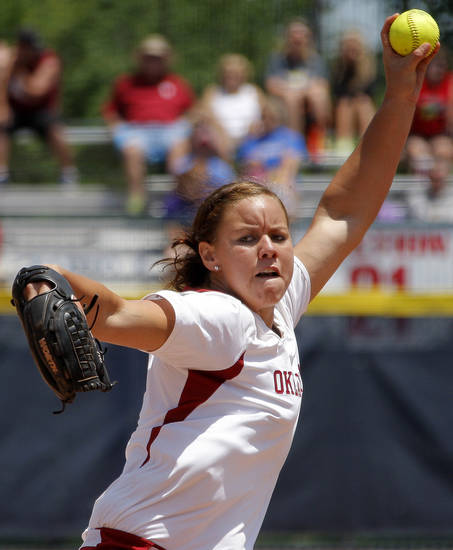 Oklahoma's Keilani Ricketts pitches against South Florida in a Women's College World Series game at ASA Hall of Fame Stadium in Oklahoma City, Thursday, May 31, 2012.  Photo by Bryan Terry, The Oklahoman