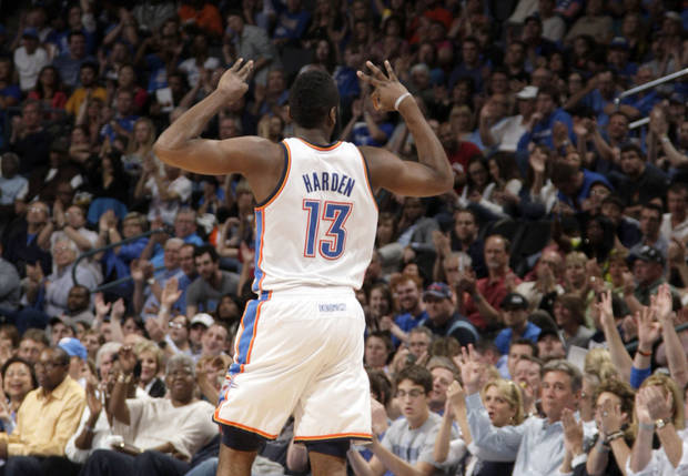 Oklahoma City&#039;s James Harden (13) celebrates a three-point basket during the NBA basketball game between the Oklahoma City Thunder and the Portland Trail Blazers at Chesapeake Energy Arena in Oklahoma City, Sunday, March 18, 2012. Photo by Sarah Phipps, The Oklahoman.