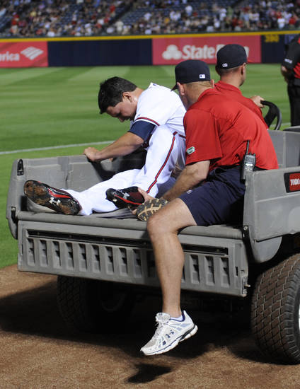 Atlanta Braves relief pitcher Luis Avilan is taken off the field after going down during the eighth inning of a baseball game against the Kansas City Royals, Tuesday, April 16, 2013, in Atlanta. (AP Photo/John Amis)