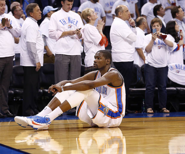 Kevin Durant explained to Darnell Mayberry why he couldn't watch Russell Westbrook's late-game free throws in Game 5 Tuesday. Photo by Sarah Phipps, The Oklahoman