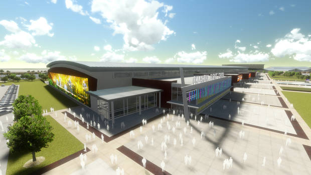 An artist�s rendering shows the proposed Travel & Transportation exhibit hall at State Fair Park. Image provided by Oklahoma State Fair Inc.