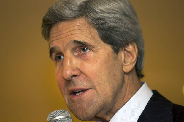 U.S. Secretary of State John Kerry speaks to staff of Embassy New Delhi in New Delhi, India on Tuesday, June 25, 2013, before heading to Jeddah, Saudi Arabia for a day visit and then on to Kuwait, continuing his Middle East tour. (AP Photo/Jacquelyn Martin, Pool)